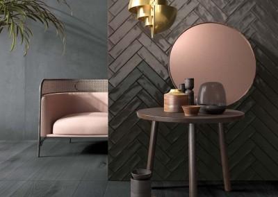 א.א קרמיקה   Crossroad Brick Grey / Smoke / Coal   Crossroad Wood Coal 20x120