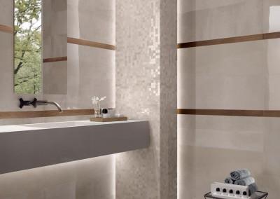 א.א קרמיקה | Bone Lux+ 30x120 | Listello Rame 5x60 | Mosaico 30x30