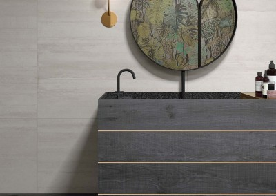 א.א קרמיקה | Form Pearl 60x120 | Crossroad Wood Coal 26x200, 20x120 | Matita Bronzo