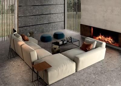 א.א קרמיקה | Tortora 60x60 | Antracite bocc. 60x60 | List. Vetro Nero | Essential Beige 20x120