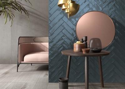 א.א קרמיקה | Crossroad Brick Blue | Crossroad Wood Grey 20x120