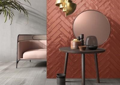 א.א קרמיקה | Crossroad Brick Clay | Crossroad Wood Grey 20x120