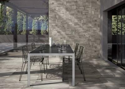 א.א קרמיקה | Tortora Grip 20x80 | Mosaico 3D Tortora