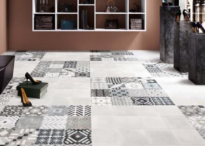 א.א קרמיקה   Heritage Pearl   Labyrinth Mix Grey